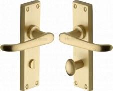 Heritage Windsor Bathroom Door Handles V730 Satin Brass Lacquered