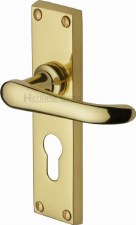 Heritage Windsor Euro Lock Door Handles V727 Polished Brass Lacquered