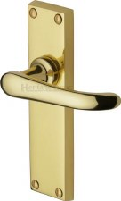 Heritage Windsor Door Latch Handles V713 Polished Brass Lacquered