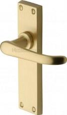 Heritage Windsor Latch Door Handles V713 Satin Brass Lacquered