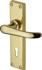 Heritage Windsor Door Lock Handles V700 Polished Brass Lacquered