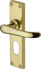 Heritage Windsor Oval Lock Door Handles V725 Polished Brass