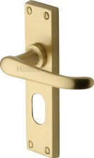 Heritage Windsor Oval Lock Door Handles V725 Satin Brass Lacquered
