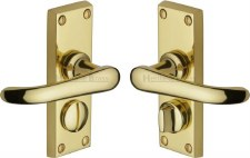 Heritage Windsor Privacy Door Handles V735 Polished Brass Lacquered