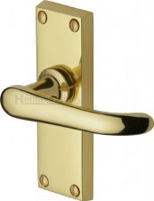 Heritage Windsor Door Latch Handles V710 Polished Brass Lacquered