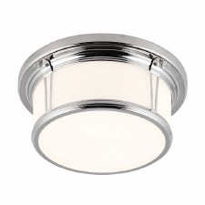 Feiss Woodward Bathroom Large Flush Light Polished Nickel