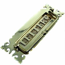 Postal Knocker Gothic Polished Brass Unlacquered 300mm