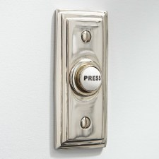 Edwardian Rectangular Door Bell Push Polished Nickel