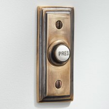 Edwardian Rectangular Door Bell Push Renovated Brass
