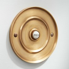 "Circular Door Bell Push 4"" Antique Satin Brass"