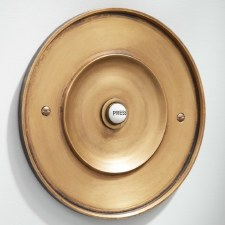 "Circular Door Bell Push 6"" Antique Satin Brass"