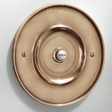 "Circular Door Bell Push 6"" Renovated Brass"