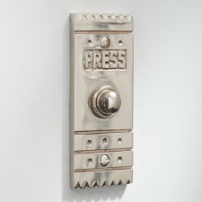 Arts & Crafts Door Bell Push Polished Nickel