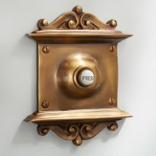 Scroll Door Bell Push Antique Satin Brass