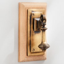 Rectangular Door Bell Pull & Crank On Oak Pattress Antique Satin Brass