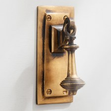 Rectangular Door Bell Pull & Crank Antique Satin Brass