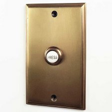 "Bell Push 5"" x 3"" Antique Satin Brass"