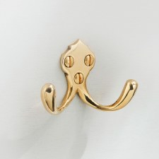 Double Robe Hook Polished Brass