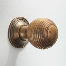 25mm Reeded Cabinet Knob Antique Satin Brass