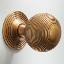 32mm Reeded Cabinet Knob Antique Satin Brass