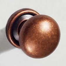 25mm Plain Cupboard Door Knob Distressed Antique Copper