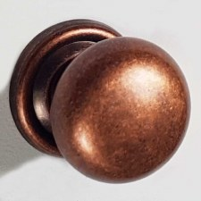 38mm Plain Cupboard Door Knob Distressed Antique Copper