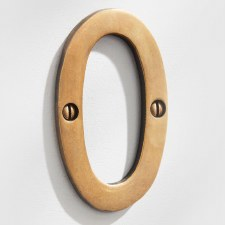 House Numbers 75mm Antique Satin Brass 0