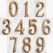 House Numbers 75mm Antique Satin Brass