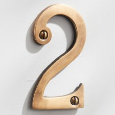 House Numbers 75mm Antique Satin Brass 2