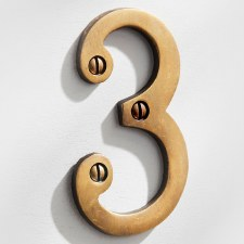House Numbers 75mm Antique Satin Brass 3