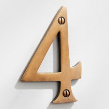 House Numbers 75mm Antique Satin Brass 4