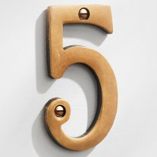 House Numbers 75mm Antique Satin Brass 5
