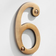 House Numbers 75mm Antique Satin Brass 6
