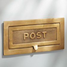 Large Postal Letter Plate Antique Satin Brass 380mm