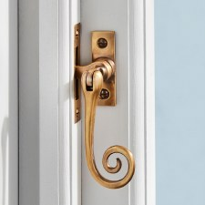 Rat Tail Window Handle Antique Satin Brass