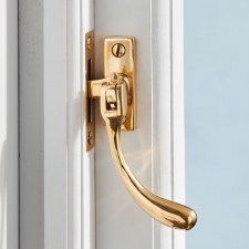 Pear Drop Window Handle Polished Brass