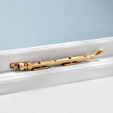 "Pear Drop Window Stay Antique Satin Brass 10"""