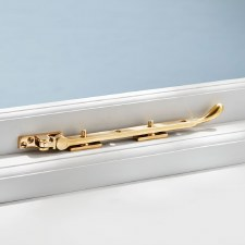 Pear Drop Window Stay Polished Brass Unlacquered 10""