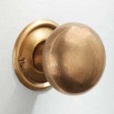 Plain Bun Mortice or Rim Door Knobs 45mm Antique Satin Brass