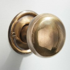 Plain Bun Mortice or Rim Door Knobs 45mm Renovated Brass Look