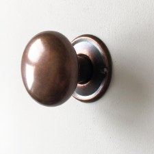 Plain Bun Mortice or Rim Door Knobs 50mm Distressed Antique Copper