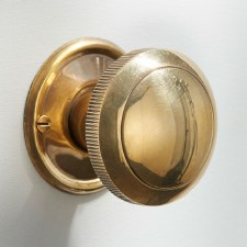 Milled Edge Mortice or Rim Door Knobs 50mm Renovated Brass