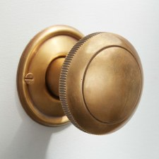 Milled Edge Mortice or Rim Door Knobs 50mm Antique Satin Brass