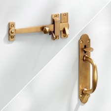 Suffolk Thumb Latch Long Tail Antique Satin Brass
