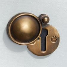 Round Covered Escutcheon Antique Satin Brass
