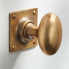 Oval Mortice Door Knobs on Square Plate Antique Satin Brass