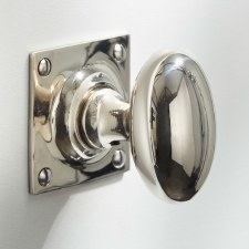 Oval Mortice Door Knobs on Square Plate Polished Nickel