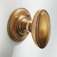 Edwardian Oval Door Knobs Antique Satin Brass