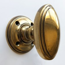 Edwardian Oval Door Knobs Renovated Brass