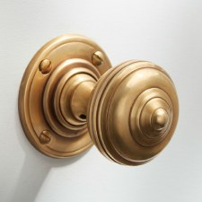 Turban Door Knobs Antique Satin Brass